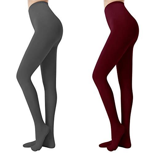 Libella Damen Thermo Strumpfhose mit Innenfleece Blickdichte Leggings extra warm für Herbst Winter 4152 Grau+Rot L/XL