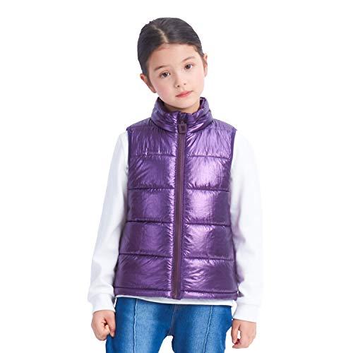 IKALI Chaleco acolchado de invierno para niñas, chaleco sin mangas con capucha para niños, prendas de vestir ligeras y cálidas resistentes al agua con cuello de bolsillos