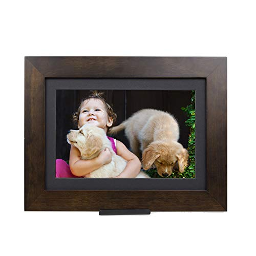 "Brookstone PhotoShare Friends and Family Smart Frame, Digital Picture, WiFi, HD, Family Photo Album Slideshow, Tabletop End Table, Home Décor, 8"", Espresso"