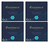 Waterman 4estuches de 6cartuchos internacionales corta para pluma tinta azul Inspiration