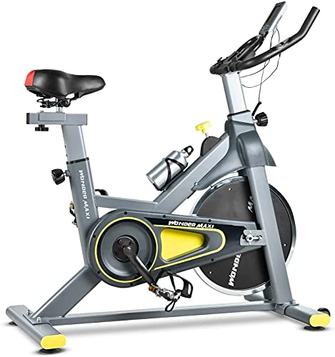 Stationary Exercise Bike with 35Lbs Flywheel - Belt Drive Indoor Cycling Bike with Ipad Holder and LCD Monitor for Home Workout