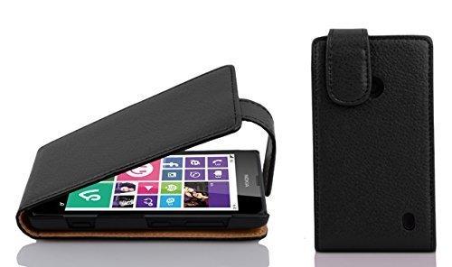 Cadorabo Hülle für Nokia Lumia 630/635 - Hülle in Oxid SCHWARZ – Handyhülle aus Strukturiertem Kunstleder im Flip Design - Hülle Cover Schutzhülle Etui Tasche