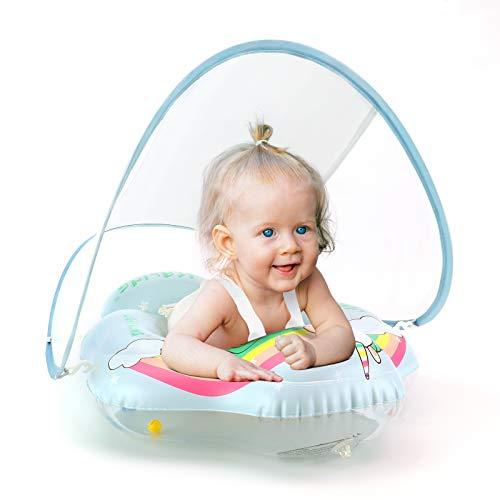 LIGHTALING Baby schwimmring ab 3 Monate, Einhorn Schwimmreifen für Babys Kleinkinder mit abnehmbarem Sonnendach, Baby Schwimmtrainer, 3 Monate bis 1 2 3 Jahr, Größe L