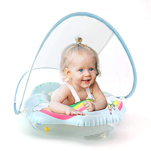 Lightaling Flotadores de natación de unicornio para bebés – Anillo inflable para piscina de bebé con toldo de protección solar para bebé a partir de 3 meses, talla S, L, XL