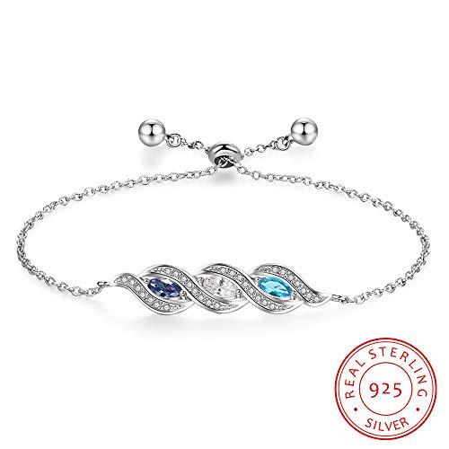 GYXYZB 925 sterling zilveren bedelarmband, gepersonaliseerde armband met 3 geboortesteen op maat gemaakt zilver, 925 sieraden, fijne sieraden