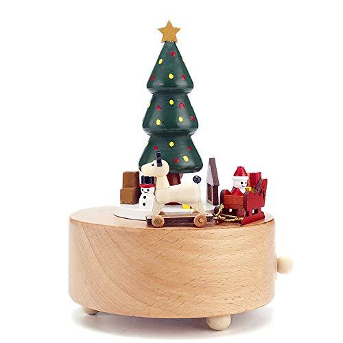 Bradoner Santa Claus Christmas Tree Music Box Wooden Car Elk Handmade Crafts Home Decoration Ornaments Creative Birthday 11 * 11 * 15cm