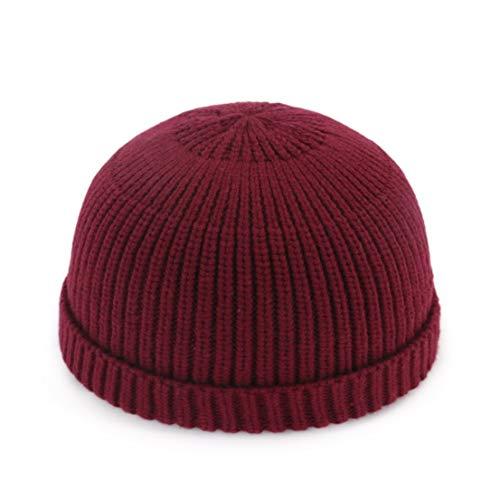 ShanShan Mu Casual gebreide muts Koreaanse versie van de herfst en winter paar wol hoed meloen cap warme hoofddeksels mannen en vrouwen hoed Adult Rode Wijn