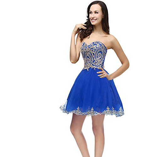 Kivary Gold Lace Crystals Short Tulle Corset Prom Homecoming Cocktail Party Dresses Royal Blue US10 (Apparel)