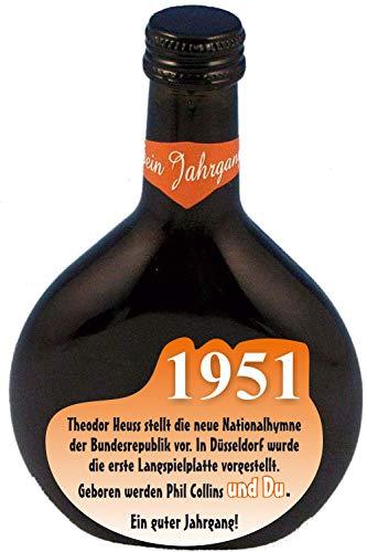 QUATSCHmanufaktur Bocksbeutel zum 70. Geburtstag (fürJahrgang 1951) Rotwein 0,25 l