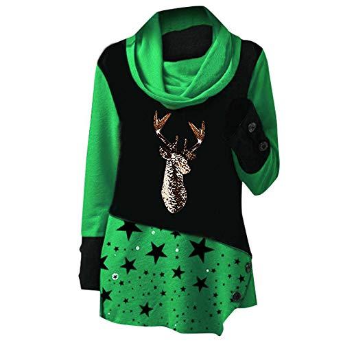 TOPKUAL Jersey irregular de Navidad de manga larga para mujer, con impresión navideña, cuello apilado, suéter de Navidad #03-verde XXL