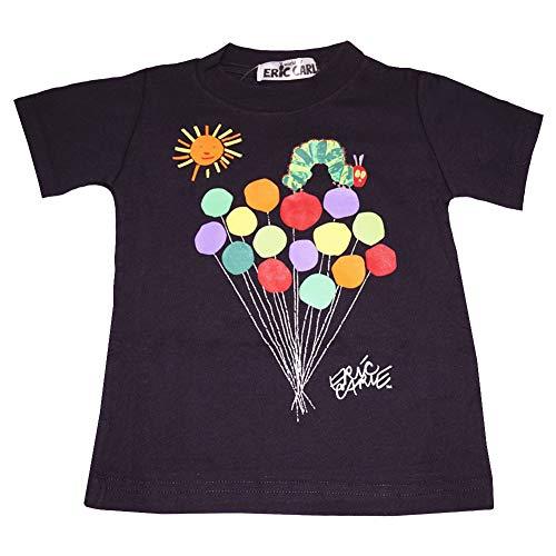 【本体綿100%】2021年 夏物 はらぺこあおむし 天竺 風船柄 半袖Tシャツ THE WORLD OF ERIC CARLE ブラック◇120cm