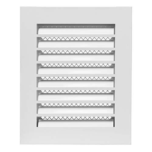 150 x 200mm Weiß Wetterschutz Lamellen Stahl Lüftungsgitter Zuluft Abluft Garage Küche Bad Wand Lufthaube
