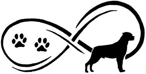 WYG Rottweiler - Juego de 2 pegatinas para coche, diseño de pata de perro, 17,8 x 8,9 cm, color negro