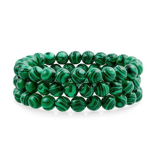 Bling Jewelry Semi Precious Verde sintético malaquita Ronda Ronda 8mm apilamiento Pulsera de Estiramiento para Mujeres Hombres Adolescente Unisex Single Strand
