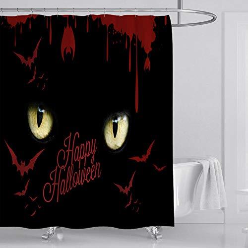 JFAFJ Duschvorhang Horror und Fledermaus Muster Top Qualität Wasserdicht,Anti-Schimmel-Effekt 3D Digitaldruck mit Duschvorhangringe für Badezimmer Größe:180x200