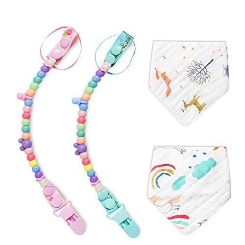 Schnullerkette für Mädchen und Jungen, Schnullerclipkette ist für alle Schnuller und Baby-Beißspielzeug geeignet, Extra 2er Pack Baby-Lätzchen aus weicher Baumwolle als Geschenk