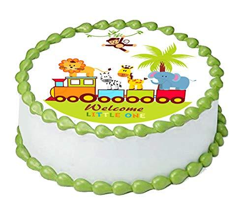 Baby Jungle animals Safari train Edible cake topper image 9.5