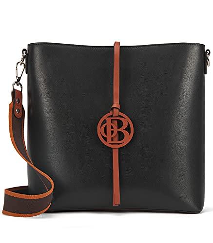 BOSTANTEN Leder Handtasche Damen Schultertaschen Hobo Taschen Schwarz Designer Umhängetasche ledertaschen mit 2 Schulterriemen