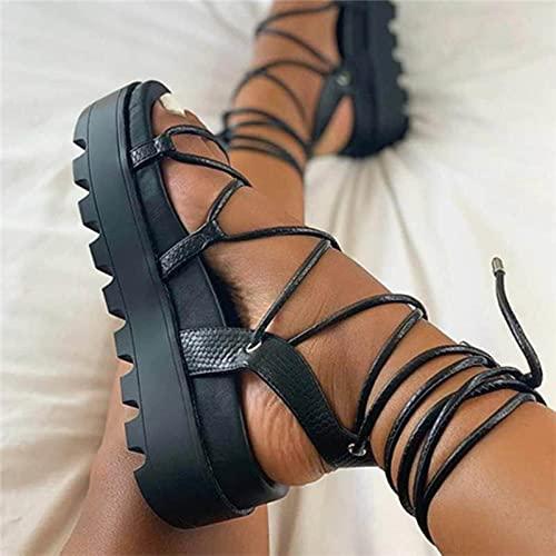 Hain Mujer Gladiador Plataforma Sandalia Damas Tobillo Wrap Wedge Femenino Fashion Lace Up Zapato Mujeres Antideslizante Calzado de Las Mujeres más tamaño 43