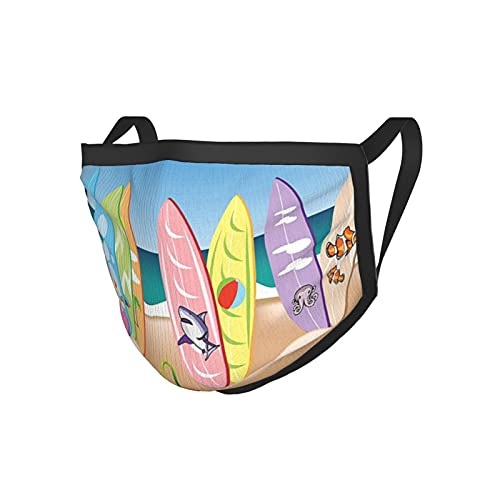 Ocean Decor Una Ilustración Colección De Tablas De Surf En La Playa De Arena El Cielo Y El Mar Es Multicolor Negro Edge Mask.Cloth Mask