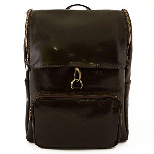 Dream Leather Bags Made in Italy toskanische echte Ledertaschen Echtes Leder Rucksack Mit Reißverschluss Und Karabiner Farbe Dunkelbraun - Italienische Lederwaren - Rucksack
