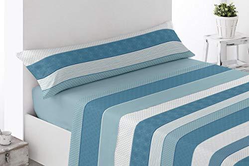 BENEDETTAHOME Juego de sábanas Estampadas coralina Invierno, 100% poliéster, con Tacto Suave y Agradable. Modelo Vellisca, Azul. Juego de 3 Piezas para Cama de 135.