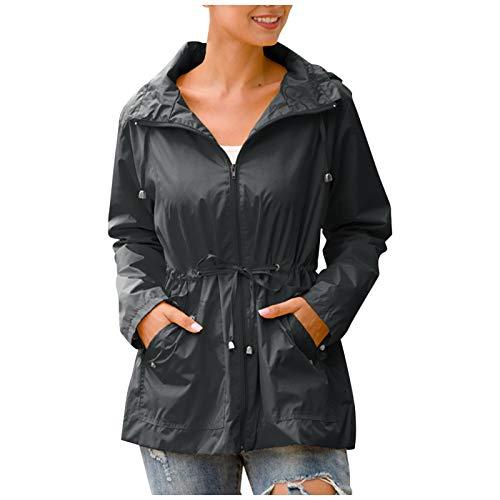 XLKJ Women Hooded Waterproof Zipper Mid-length Hiking Jackets Windproof Waterproof Raincoat Jacket Outdoor Hiking Coats Black