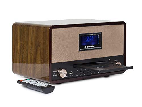 Roadstar DAB Nostalgie Retro-Radio mit Bluetooth und CD / MP3 Player im Holzgehäuse mit Weck-Funktion (USB, AUX-In, RDS), 2 x 15 Watt RMS, braun