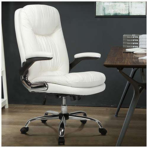 B2C2B Ergonomic Office Chair High Back Desk Chair with Flip-Up Arms and Comfy Thick Cushion Leather Computer Chair White Big and Tall 300lb Weight Capacity