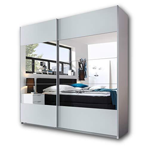 PENTA Eleganter Kleiderschrank mit viel Stauraum - Vielseitiger Schwebetürenschrank in Weiß & mit großem Spiegel - 215 x 210 x 60 cm (B/H/T)