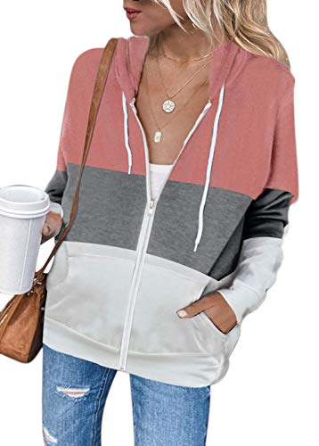 MAGIMODAC Kapuzenjacke Damen Sweatjacke Farbblock Kapuzenpullover Sweatshirt Jacke Hoodie Kapuzenpulli Pullover mit Kapuze Reißverschluss Taschen (Farbblock-Rosa, L)