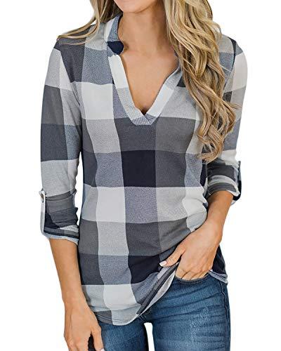 YOINS Camicia Donna Elegante Camicetta Donna Manica Lunga Bluse Camicie a Quadri Blusa Scollo V Casuale Scacchi Grigio S