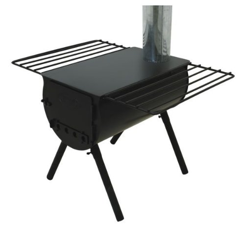 Camp Chef Alpine CS14 Heavy Duty Cylinder Tent Cabin Stove with damper and side shelves.