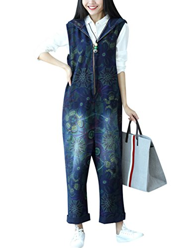 Youlee Damen Sommer Breites Bein Hose Denim Latzhose Overall Hosen Style 28