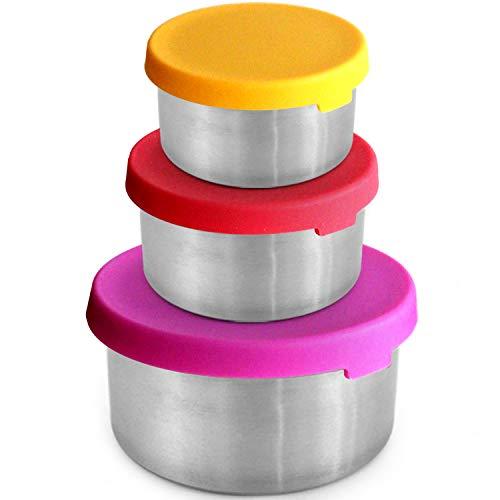 Lebensmittelbehälter aus Edelstahl [3er-Set] - Plastikfrei   Silikondeckel   Auslaufsichere Lunchbox für Kleinkinder