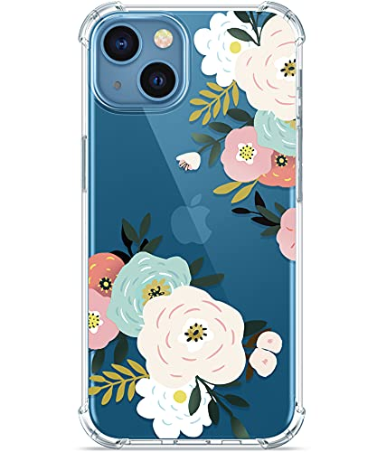 GVIEWIN Case Compatible with iPhone 13 6.1 Inch 2021, Clear Flower Soft & Flexible TPU Shockproof Women Girls Phone Cover Floral Pattern Design Bumper Protective Case (Abundant Blossom/White)