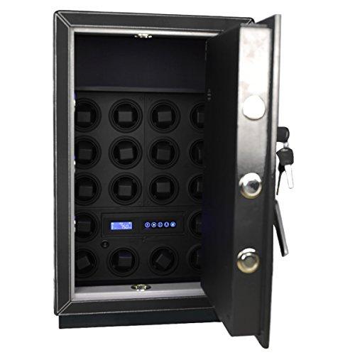 Safewinder® 18 DELUXE BLACK = 18 Uhrenbeweger & Luxus-Safe