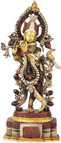 Exotic India Murli Krishna - Brass Statue - Color Brown Silver Gold Color