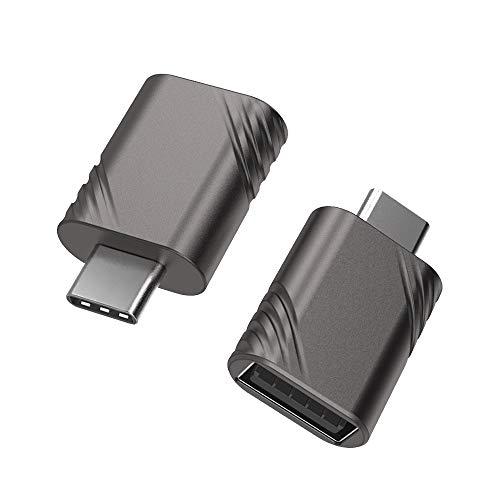 YOSH USB C Adapter OTG (2 Stücke) USB C auf USB A USB 3.0 Adapter Zinklegierung hergestellt für MacBook Pro 2018/2017, Google Chromebook Pixelbook, Samsung Galaxy S9 S8 Note8, LG, HTC usw.