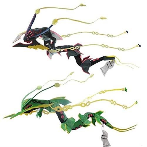Monster Center Xy Peluche De Juguete Negro/Gree Rayquaza Dragon Doll Peluches Suaves Juguetes De Regalo para Niños 83Cm Negro Y Verde