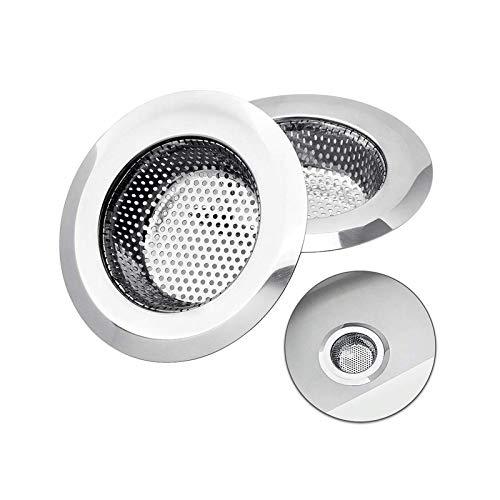 Set di 2 filtri di scarico, lavello da cucina in acciaio inossidabile da 9 cm, vasca per doccia, scolapiatti, filtro per lavello, filtro per lavello, vasca di scarico con filtro