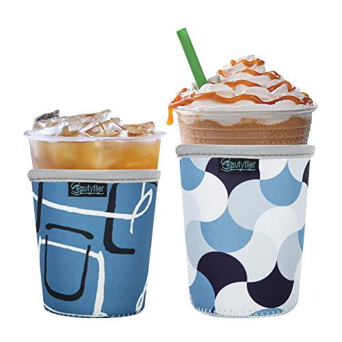 Beautyflier Wiederverwendbare Eiskaffeetassen-Isolierhülle für kalte Getränke und heißen Kaffee, Neopren-Becherhalter für Starbucks Kaffee, McDonalds, Dunkin Donuts, mehr (geometrisch)