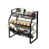 SMEJS Estante organizador de cocina, baño, estante de almacenamiento de 2 niveles, estantes de libros, bufé, condimentos, tarros