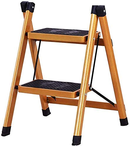 JIN Práctico Taburete de Paso Desplegable de Oro 2 Taburete de Paso, Metal Hogar Paso Taburete de Cocina Subida de Escaleras Banco de Doble Uso, Flower Stand Plegable 2 Escalera Plegable Estable:
