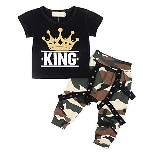 Kantenia Manga Curta do Menino Camisa Da Coroa Saída Da calça camuflada Conjunto de vestuário de verão