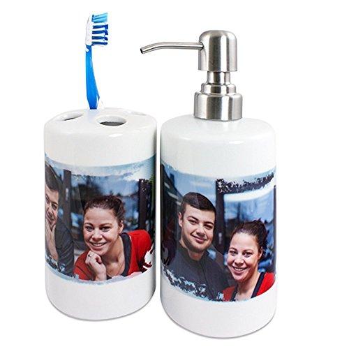 Badezimmerset aus Seifenspender und Zahnbürstenhalter mit Foto selbst gestalten und bedrucken lassen ✓