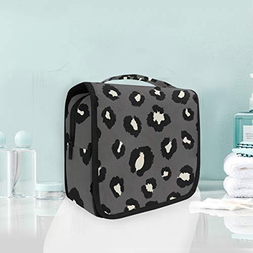 Estampado De Leopardo Blanco Negro Trousse De Toilette Sac Pliable Suspendu Cosmétique Sac Rangement Maquillage sacs pour Voyage Femmes Filles