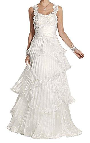 Heine Brautkleid mit Spitze Stickerei Perlen Hochzeitskleid Creme Gr. 34 Kleid Abendkleid Ballkleid
