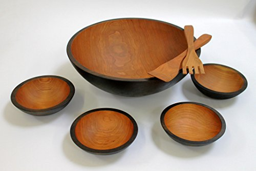 17 inch Solid Cherry Wooden Salad Bowl Set - Holland Bowl Mill