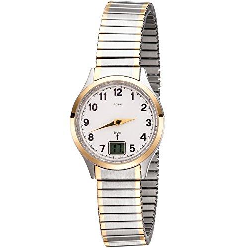 JOBO Damen Armbanduhr Funk Funkuhr Edelstahl bicolor vergoldet Flexband Datum